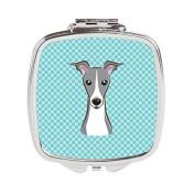 Checkerboard Blue Italian Greyhound Compact Mirror BB1174SCM