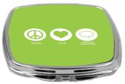 Rikki Knight Peace Love Speech Therapist Design Compact Mirror, Lime Green, 60ml