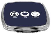 Rikki Knight Peace Love Speech Therapist Design Compact Mirror, Blue, 60ml
