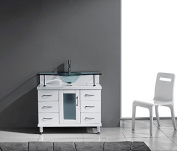 Vincente 90cm . Vanity in White with Glass Vanity Top in Aqua