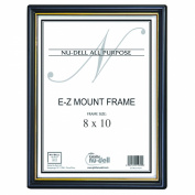 20cm x 25cm EZ Mount Document Frame Glass Face, Black w/ Gold Trim