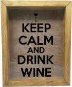 Wooden Shadow Box Wine Cork/Bottle Cap Holder 23cm x 28cm - Keep Calm And Drink Wine With Glass