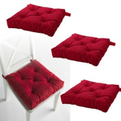 Set of 4 Red Chair Cushions Pads Machine Washable