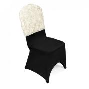 LinenTablecloth Satin Banquet Rosette Chair Cap, Ivory