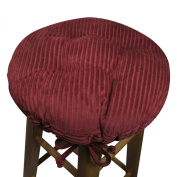 33cm Round Bar Stool Cover with Adjustable Drawstring Yoke - Wide Wale Wine Red Corduroy - Standard Size - Latex Foam Fill Barstool Cushion - Made in USA