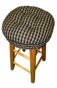 38cm Round Barstool Cushion with Drawstring Yoke - Checkers 0.6cm Cheque - Latex Foam Fill Bar Stool Pad
