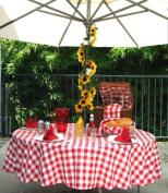 Polyester Gingham Umbrella Table Cloth, 130cm x 200cm Rectangle