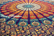 COR's Multi-coloured Mandala Tapestry Indian Wall Hanging, Bedsheet, Coverlet Picnic Beach Sheet , Superior Quality Hippie Wall Tapestry or Bedspread in Organic Cotton Tree of Life 240cm x 220cm