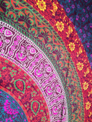 Multi-coloured Mandala Tapestry Indian Wall Hanging, Bedsheet, Superior Quality Hippie Wall Tapestry or Bedspread in Organic Cotton Tree of Life 240cm x 220cm