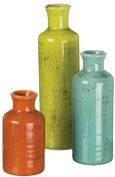Sullivans 13cm - 25cm Set of 3 Decorative Crackled Vases in Orange, Green, and Blue