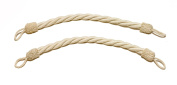 Pair of Natural, Linen Colour Rope Tiebacks, 46cm Long, 2.5cm Thick, Indoor/outdoor use