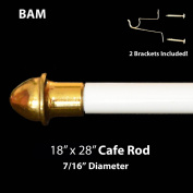 WHITE CAFE ROD. Adjustable from 46cm - 70cm . ALL HARDWARE INCLUDED.