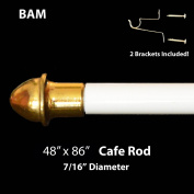 WHITE CAFE ROD. Adjustable from 120cm - 220cm . ALL HARDWARE INCLUDED.
