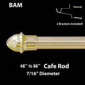 BRASS/GOLD CAFE ROD. Adjustable from 120cm - 220cm . ALL HARDWARE INCLUDED.