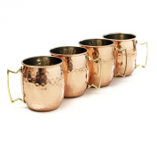 Hammered Moscow Mule Solid Copper Mug / Cup, 590ml, Set of 4