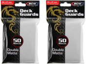 BCW 100ct Deck Guard WHITE MATTE Finish for Stardard Size Collectable Cards - Deck Protector Sleeves [2-Pack Bundle]