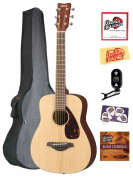 Yamaha JR2 3/4-Size Folk Acoustic Guitar Bundle with Gig Bag, Tuner, Instructional DVD, Strings, Pick Card, and Polishing Cloth - Natural