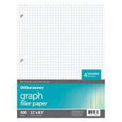 Office Depot(R) Brand Quadrille-Ruled Notebook Filler Paper, 22cm . x 28cm ., Pack Of 500 Sheets