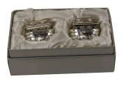 Noah's Ark Silver Plated First Tooth and Curl Trinket Box Keepsake Set
