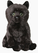 Floppy BLACK Cat Soft Cuddly Plush furry Toy 30cm