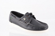 Susst Gaby-WS Deck Shoe in Navy Leather with White Sole