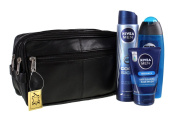 JUMBO - toilet bag extra large, Genuine Real Leather Mens Wash Bag / Overnight Bag