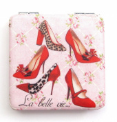 Square Shaped Shoe Detail with the Text 'La belle vie' Compact Mirror