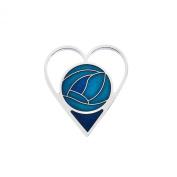 Sea Gems. Fine Enamel Heart Brooch - 7324 Turquoise