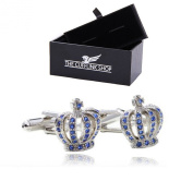 Men's Novelty Design Stainless Steel Silver Studded Crown with Blue Stones Cufflinks with Luxury Gift Box