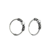 Bali Style Sterling Silver Small Endless Hoop Earrings for Cartilage, Nose and Lips, .55 Inches