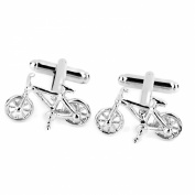 Men's Bicycle Shape Cufflinks Cuff Links Silver