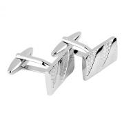Oblique Grain Rectangle Cufflinks Cuff Links for Men Silver
