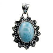 The Silver Plaza 'Caribbean Star' Sterling Silver Natural Dominican Larimar Pendant