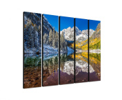 Mountains Mountains Colorado Aspen 5 x 30 x 120 CM XXL extra Large 5-Piece Picture on Canvas and Stretcher Frame, Ready to Hang-Our Images on Canvas captivate with their unusual formats and extremely detailed print from up to 100 Mega Pixel High Resolu ..