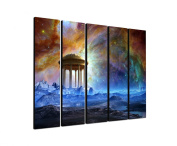 Temple of imagination 5 x 30 x 120 CM XXL extra Large 5-Piece Picture on Canvas and Stretcher Frame, Ready to Hang-Our Images on Canvas captivate with their unusual formats and extremely detailed print from up to 100 Mega Pixel High Resolution photos.