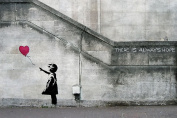 "Banksy Balloon Girl ""There is always hope"" XXL wall paper Wall decoration by Great Art 210cm x 140cm"