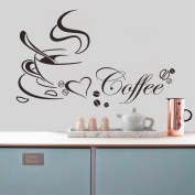 Removable Waterproof Heart Coffee Cup Kitchen Wall Sticker Wall Decal Wall Art Vinyl Wall Mural