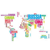 Removable Alphabets Words World Map Wall Art Stickers Decal Decoration