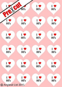 24 X PRE-CUT I LOVE 80's HEARTS EDIBLE RICE / WAFER PAPER CUP CAKE TOPPERS WEDDING BIRTHDAY PARTY DECORATIONS