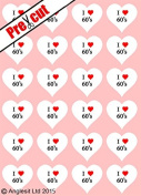 24 X PRE-CUT I LOVE 60's HEARTS EDIBLE RICE / WAFER PAPER CUP CAKE TOPPERS WEDDING BIRTHDAY PARTY DECORATIONS