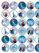 30 Assorted Frozen Premium Rice Paper Cake Toppers