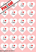 24 X PRE-CUT I LOVE CATS HEARTS EDIBLE RICE / WAFER PAPER CUP CAKE TOPPERS WEDDING BIRTHDAY PARTY DECORATIONS