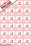 24 X PRE-CUT I LOVE DOGS HEARTS EDIBLE RICE / WAFER PAPER CUP CAKE TOPPERS WEDDING BIRTHDAY PARTY DECORATIONS