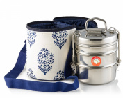 Thermally Insulated Blue Indian Leaf Tiffin Bag Carrier Including 3-Tier Tiffin