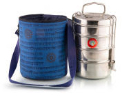 Thermally Insulated Blue Indian Tiffin Bag Carrier for 4-Tier Tiffin Including 4-Tier Large Tiffin