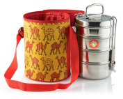 Thermally Insulated Camel Patterned Tiffin Bag Carrier Including 4-Tier Large Tiffin