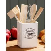 Vintage Home Kitchen Utensil Storage Holder Jar in Cream Ceramic with Text Deatil by Dr Bargain ®