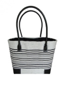. L Grey and Black Stripe French Ladies Market Shopping Basket Beach Bag