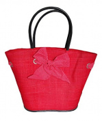 . French Red Bow Ladies Shopping Market Basket Bag