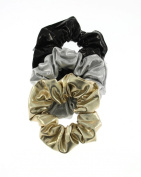 Zac's Alter Ego® Set of 3 Hair Scrunchies - 1 Black, 1 Silver, 1 Gold